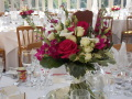 Cerise pink and ivory table centres, Flowers By Becky