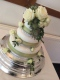 Ivory and green wedding cake, Flowers By Becky