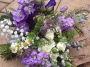 Purple and lilac wild flower bridal bouquet, Flowers By Becky