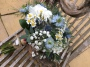 Ivory and blue natural bridal bouquet, Flowers By Becky