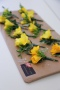 Yellow freesia buttonholes, Flowers By Becky