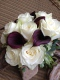 Ivory rose and aubergine calla lily bridal bouquet, Flowers By Becky