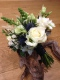 Ivory rose and blue eryngium natural style bridal bouquet, Flowers By Becky